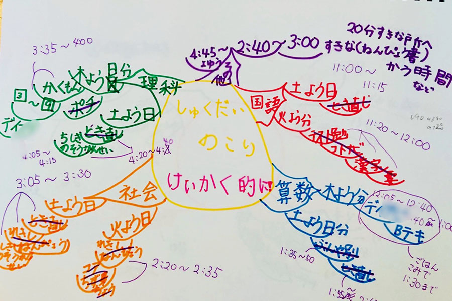 鈴木さんがレクチャーしたお母さんと10歳の子供で作成。宿題計画を描いたマインドマップ例【写真:Hint-Pot編集部】