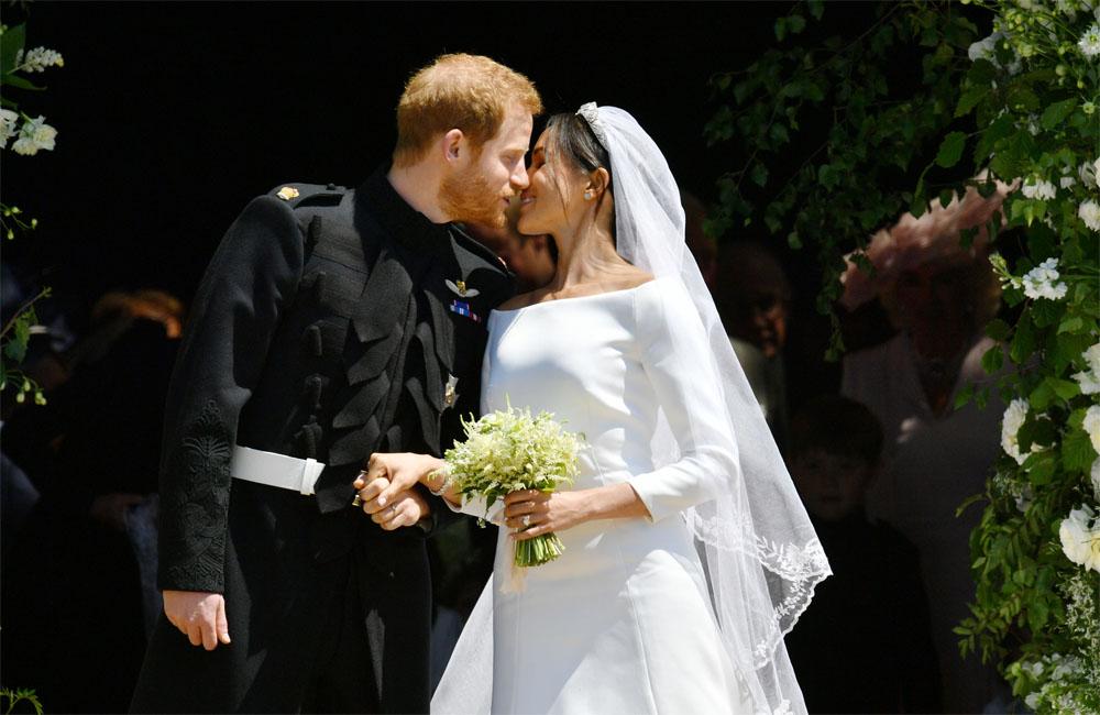 結婚式のヘンリー王子とメーガン妃【写真:BANG SHOWBIZ】