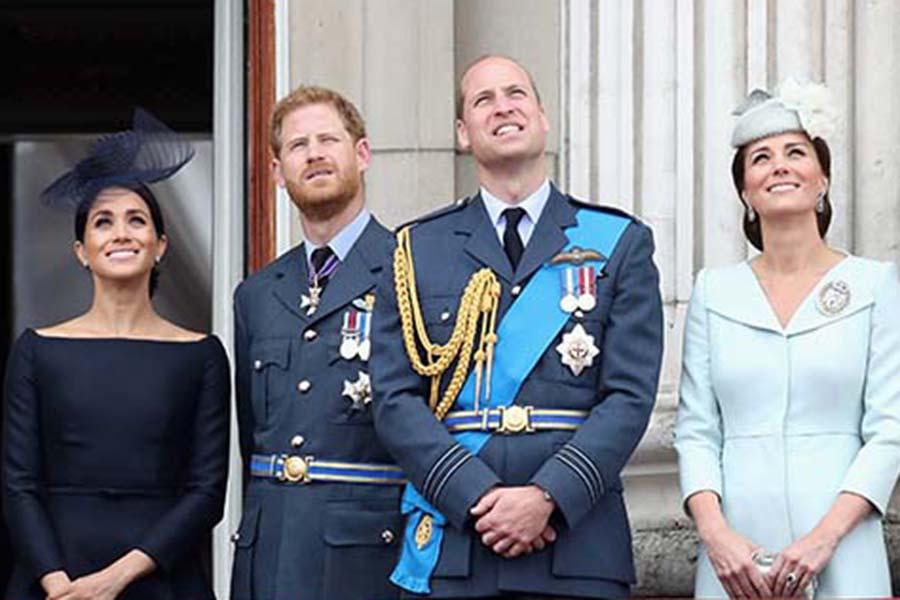 ファブ4と呼ばれるカップルたち。左からメーガン妃、ヘンリー王子、ウイリアム王子、キャサリン妃【写真:Getty Images】