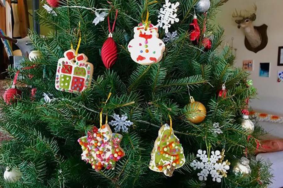 子ども達がデコレーションしたクッキーや、手作りのオーナメントをかけたもみの木【写真:小田島勢子】