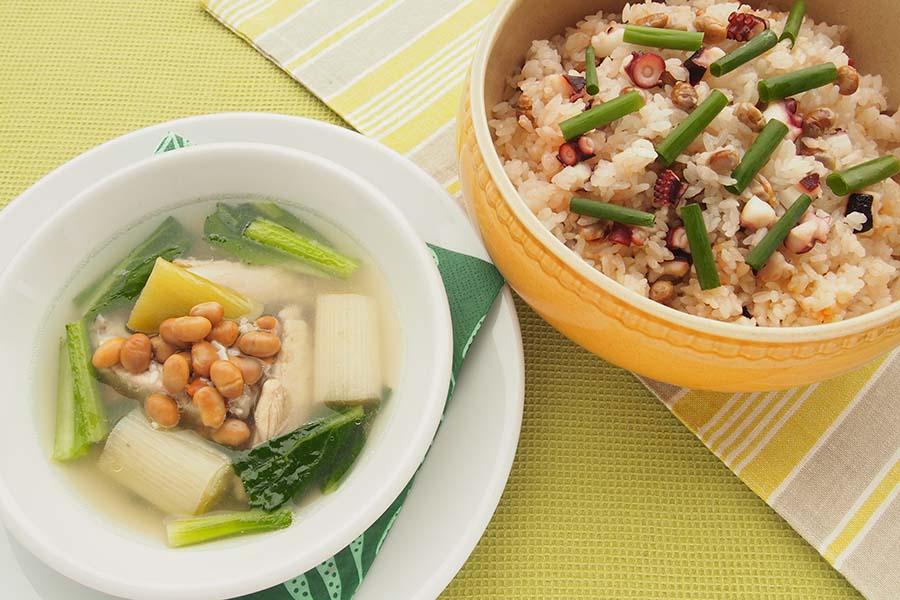 「福豆レシピ」2品 節分の炒り大豆をスープやピラフに【写真:市川千佐子】