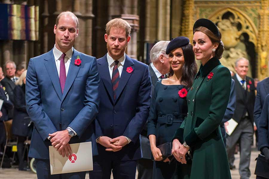 (左から)ウイリアム王子、ヘンリー王子、メーガン妃、キャサリン妃【写真:Getty Images】