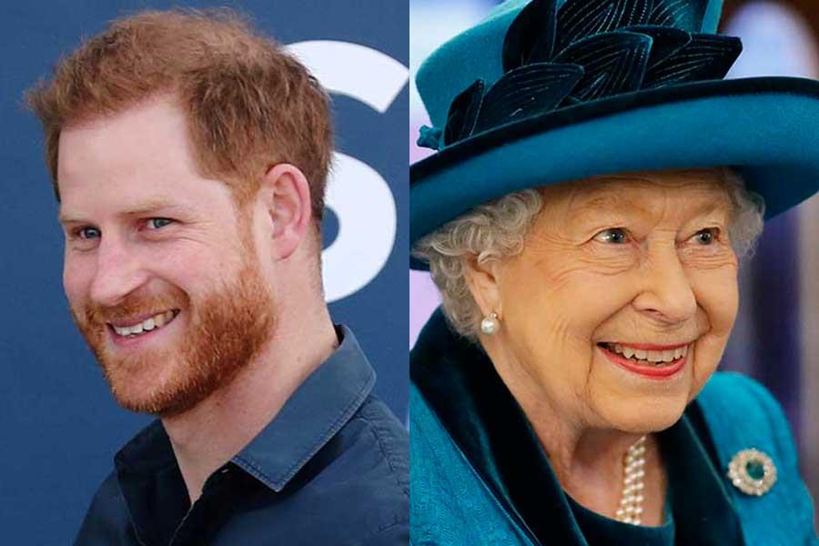 ヘンリー王子とエリザベス女王【写真:Getty Images】