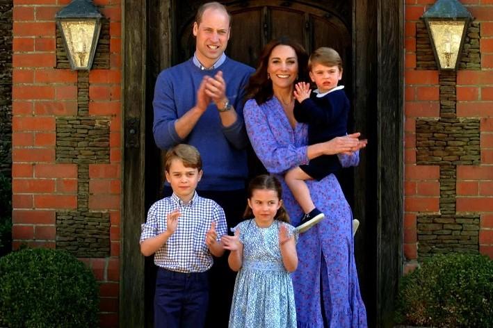 拍手を送るウイリアム王子一家【写真:Getty Images】