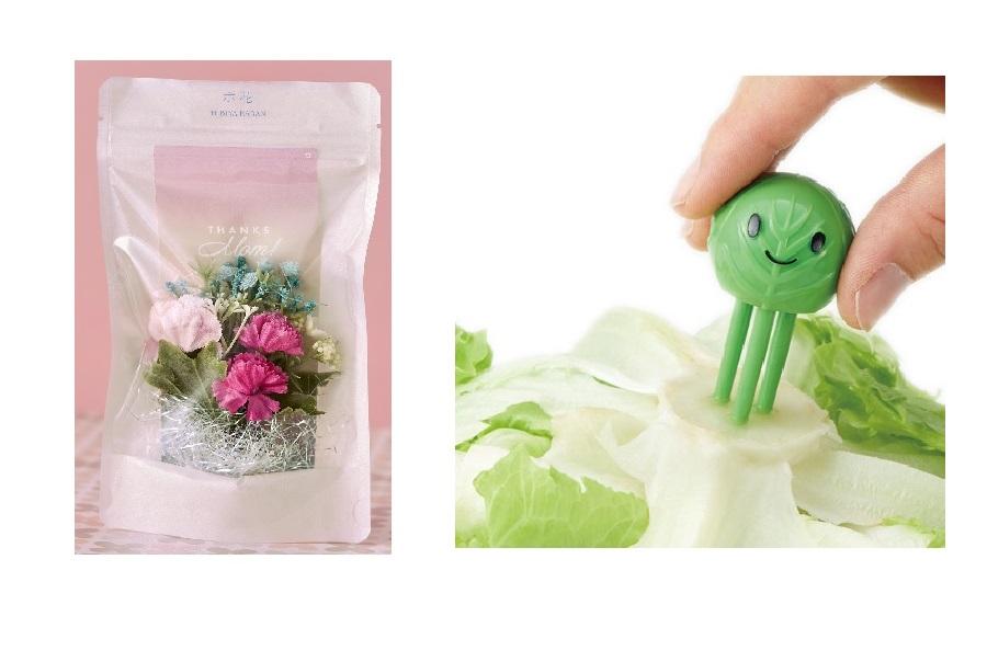 ポスト投函型花束(左)野菜の鮮度を保つグッズ【写真提供:楽天市場】