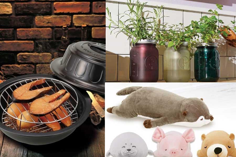 家で過ごす時間を充実させるギフトも人気(左から時計回りに「燻製鍋」「水耕栽培キット」「抱き枕」【写真提供:楽天市場】