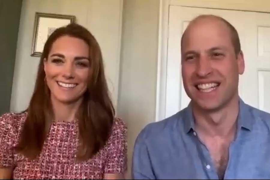 ビデオ通話に登場したキャサリン妃とウイリアム王子【写真:AP】