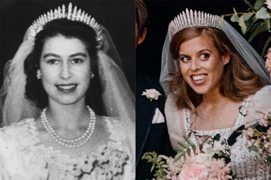 挙式当時のエリザベス女王とベアトリス王女【写真:Getty Images、AP】