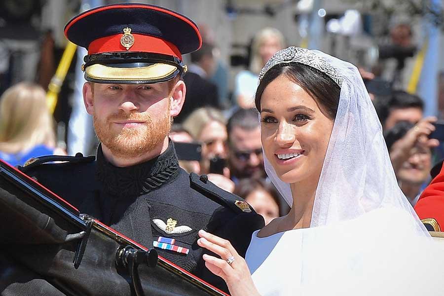 結婚式当日のヘンリー王子とメーガン妃【写真:Getty Images】