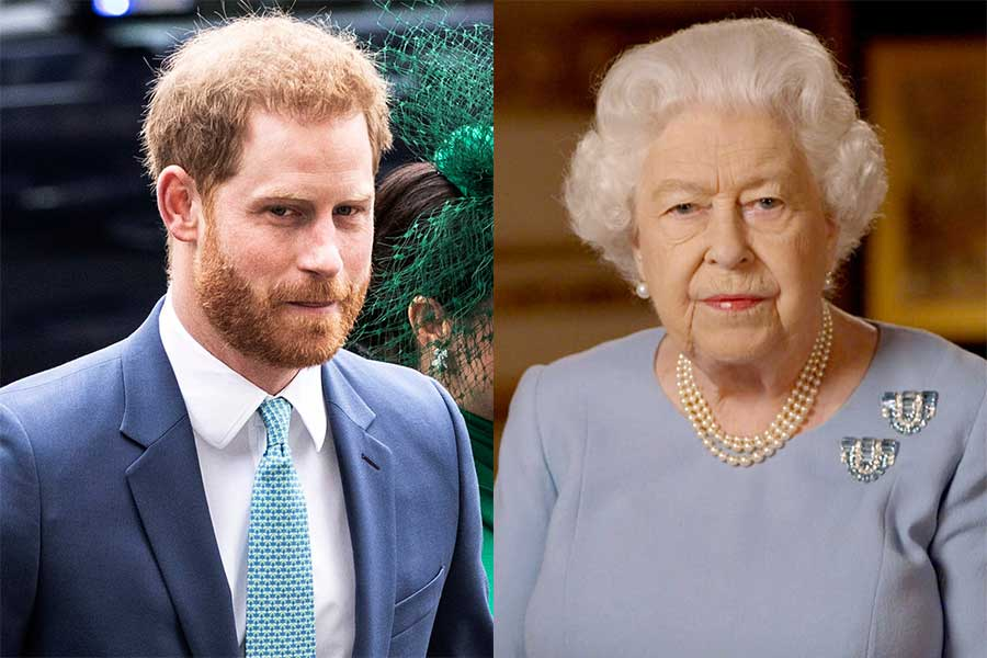 ヘンリー王子とエリザベス女王【写真:AP】