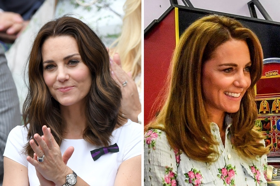 左がルイ王子の妊娠初期と言われる2017年、ウイリアム王子とともにウィンブルドン選手権を観戦時。右は2020年8月5日、南ウェールズのバリー島を訪問【写真:Getty Images、AP】