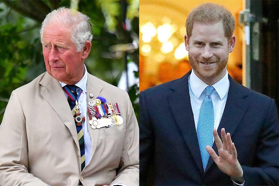 チャールズ皇太子とヘンリー王子【写真:AP】