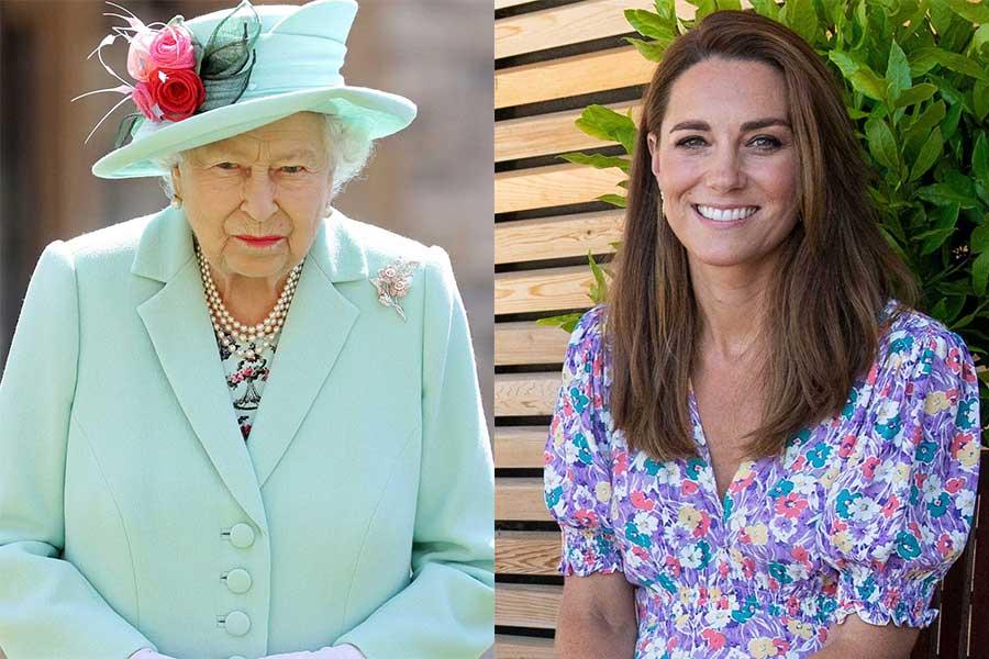 エリザベス女王とキャサリン妃【写真:AP】