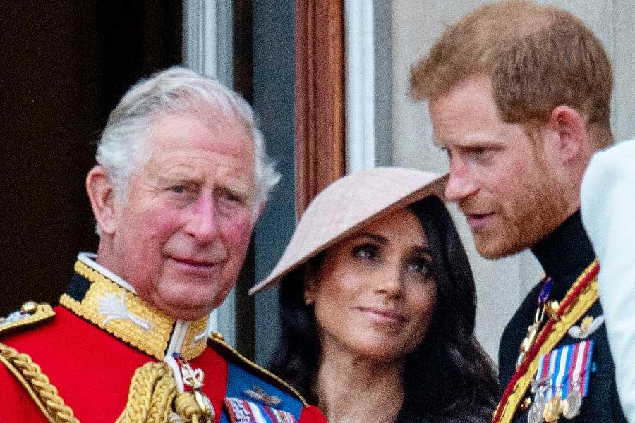 チャールズ皇太子、メーガン妃、ヘンリー王子【写真:Getty Images】