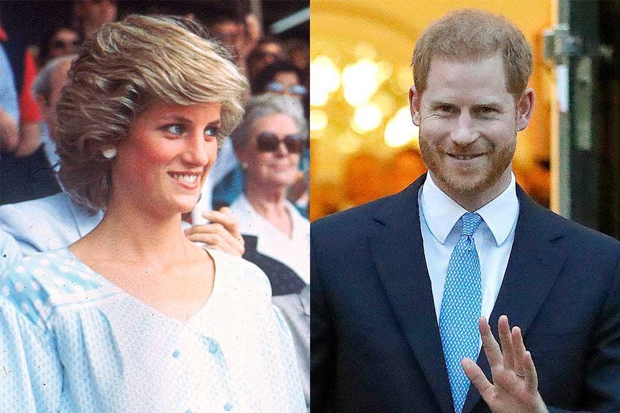 ダイアナ元妃とヘンリー王子【写真:AP】