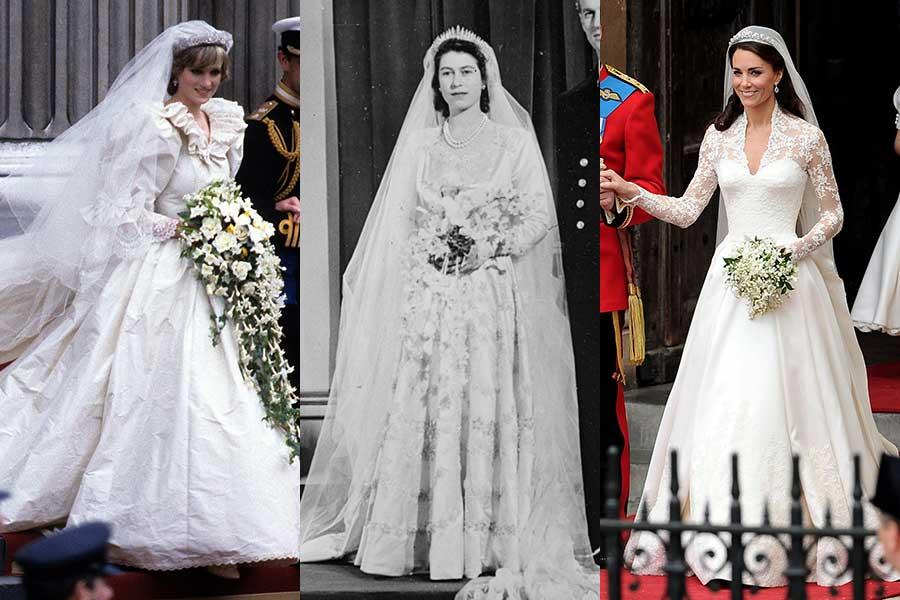 (左から)ウェディングドレスをまとったダイアナ元妃、エリザベス女王、キャサリン妃【写真:Getty Images】