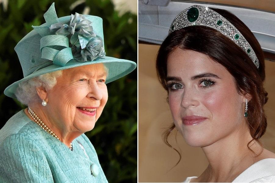 エリザベス女王とユージェニー王女【写真:AP、Getty Images】