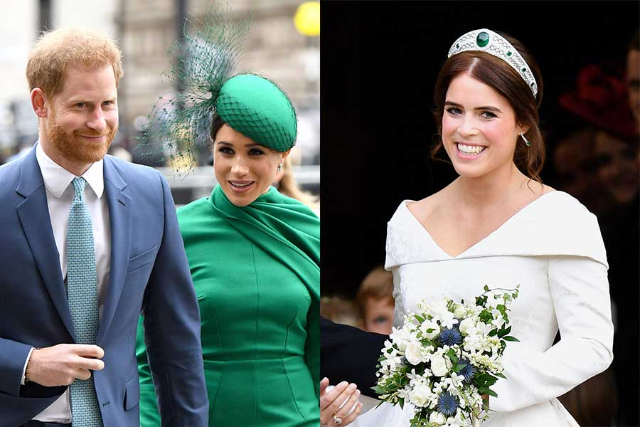 ヘンリー王子とメーガン妃、ユージェニー王女【写真:Getty Images、AP】