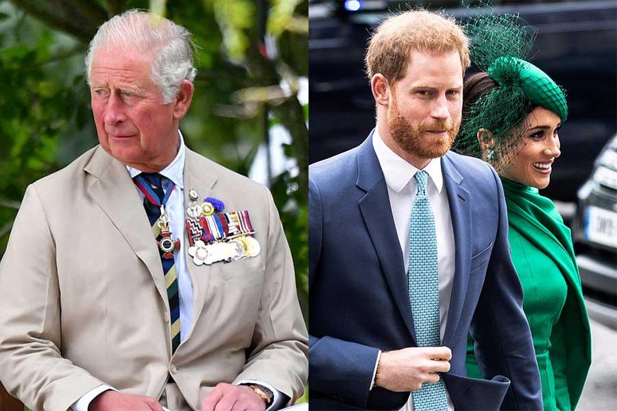 チャールズ皇太子とヘンリー王子夫妻【写真:AP】