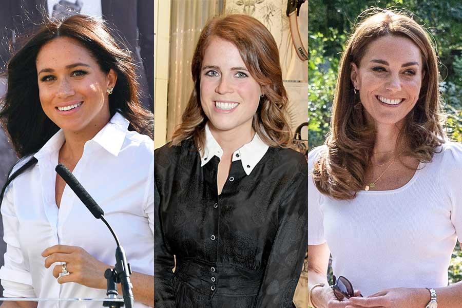 (左から)メーガン妃、ユージェニー王女、キャサリン妃【写真:Getty Images、AP】