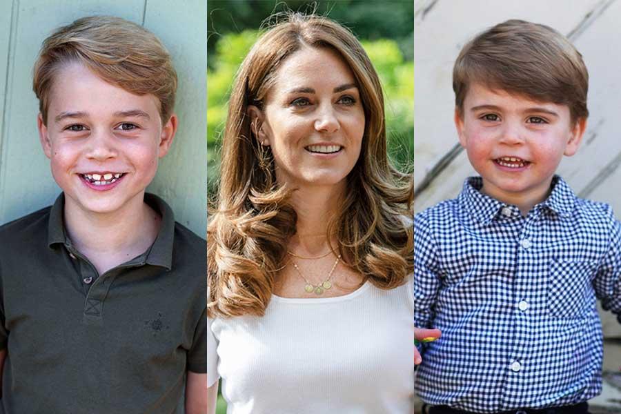 (左から)ジョージ王子、キャサリン妃、ルイ王子【写真:AP】