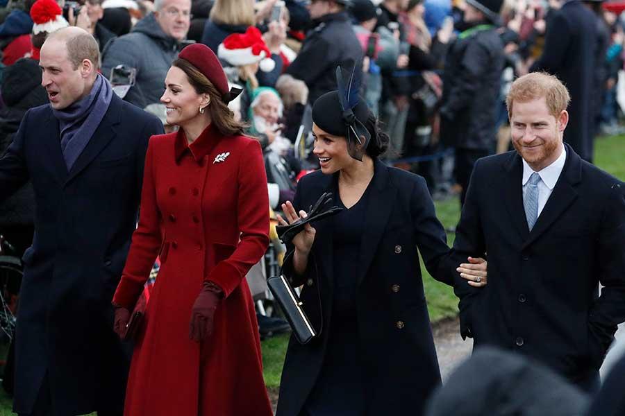 ウイリアム王子とキャサリン妃、ヘンリー王子とメーガン妃【写真:AP】
