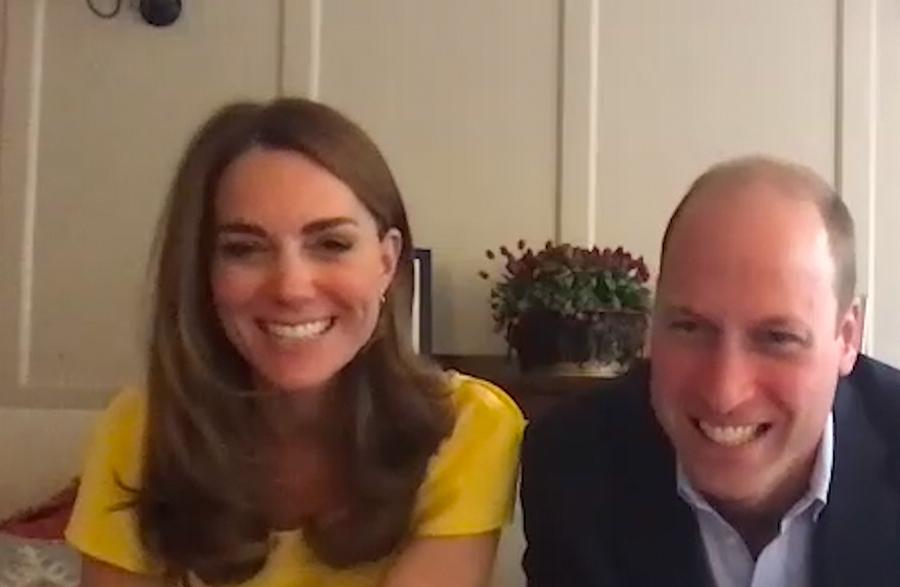 ビデオ通話で笑顔を見せるキャサリン妃とウイリアム王子【写真::Getty Images】
