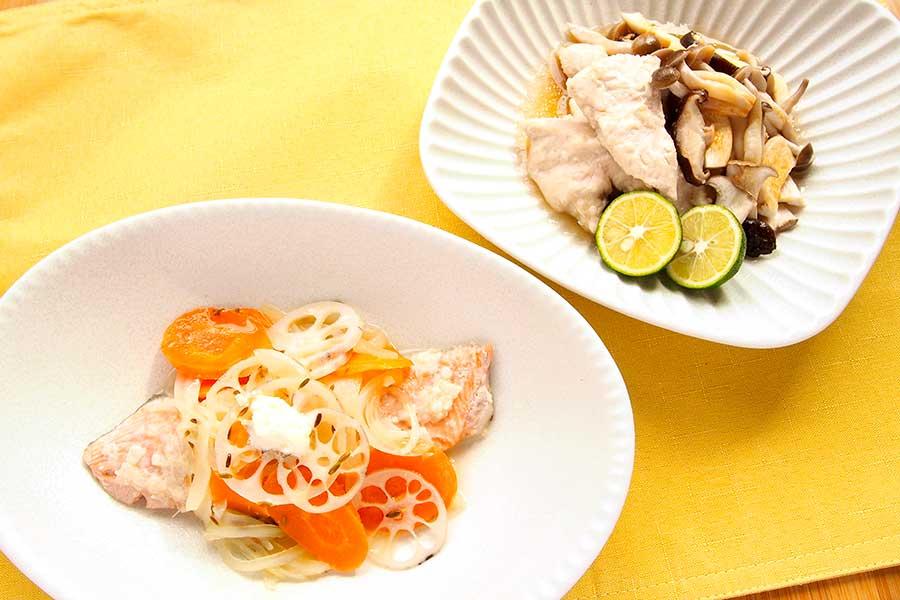鶏むね肉と秋鮭を使ったシンプルおかず2品【写真:市川千佐子】