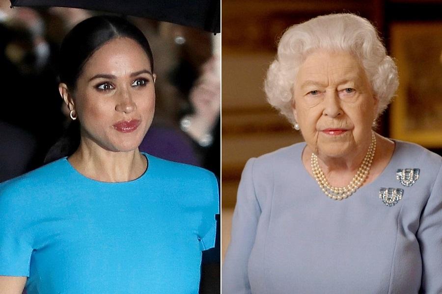 メーガン妃とエリザベス女王【写真:AP】
