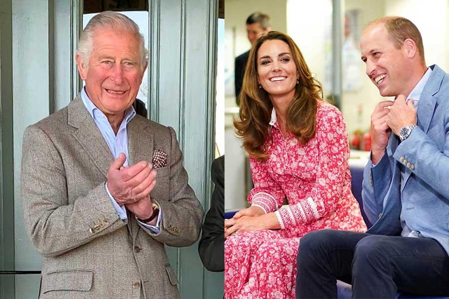 チャールズ皇太子とウイリアム王子、キャサリン妃【写真:AP】