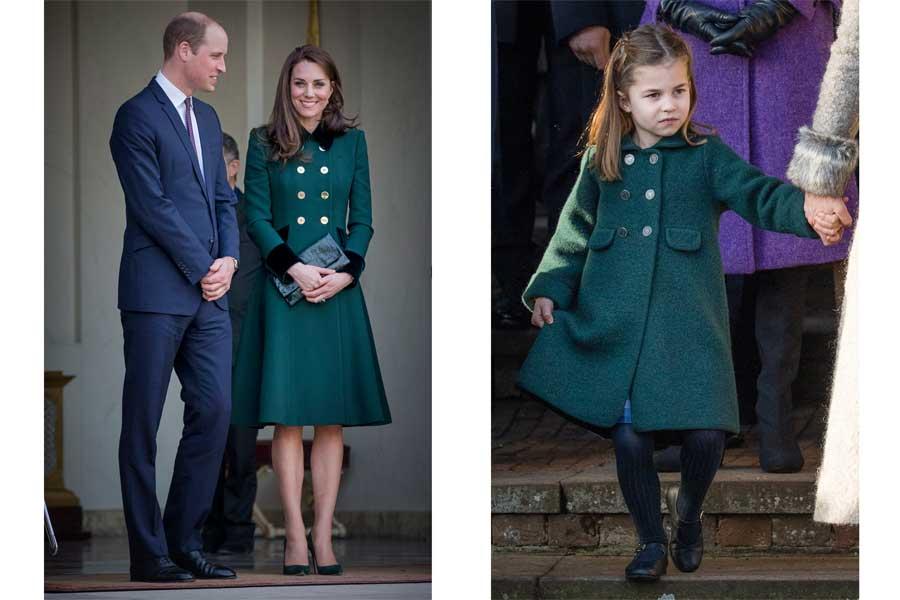 ディープグリーンのコートを着用するキャサリン妃とシャーロット王女【写真:Getty Images】