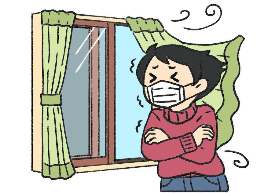短時間で窓を全開にする換気は室温が急激に下がりやすいため注意【絵:イラストAC】