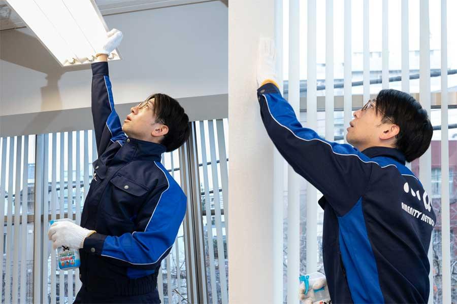 ホコリが溜まりがちな照明器具や、くすんだ壁紙も軍手で撫でれば、お掃除完了!【写真:荒川祐史】
