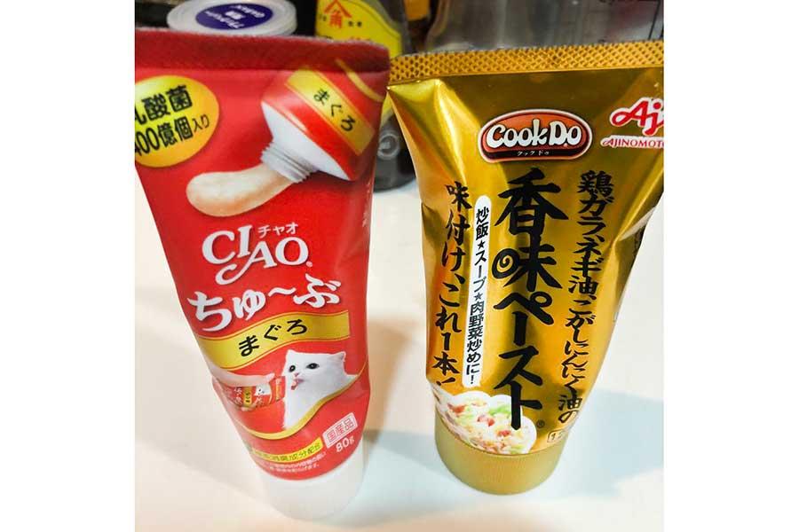 形状はそっくり。悲劇を呼んだチューブ調味料とねこ用おやつ【写真提供:yuzuhara(@yuzuhara)さん】