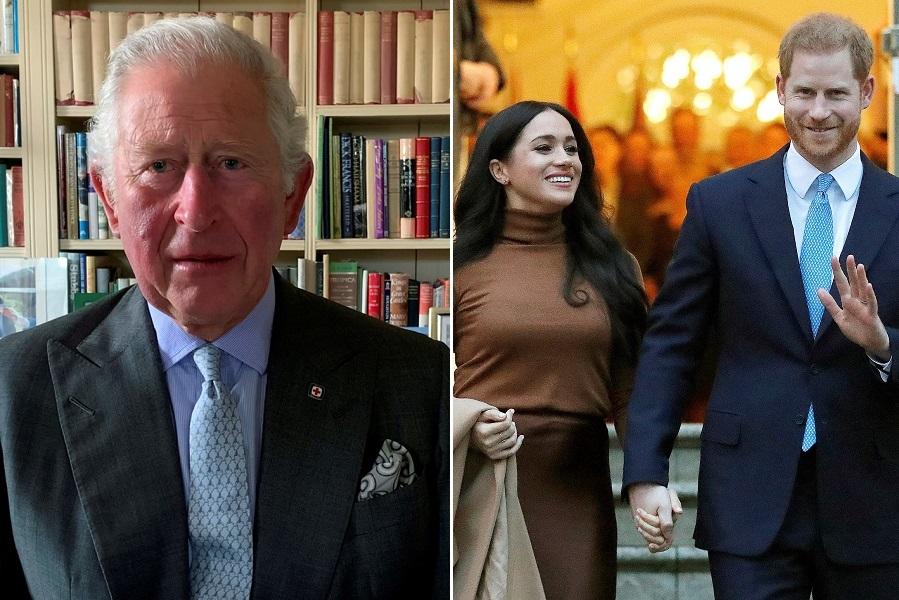 チャールズ皇太子、メーガン妃、ヘンリー王子【写真:AP】