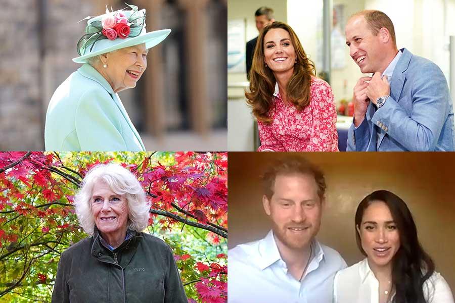 エリザベス女王、ウイリアム王子夫妻、ヘンリー王子夫妻、カミラ夫人【写真:AP】