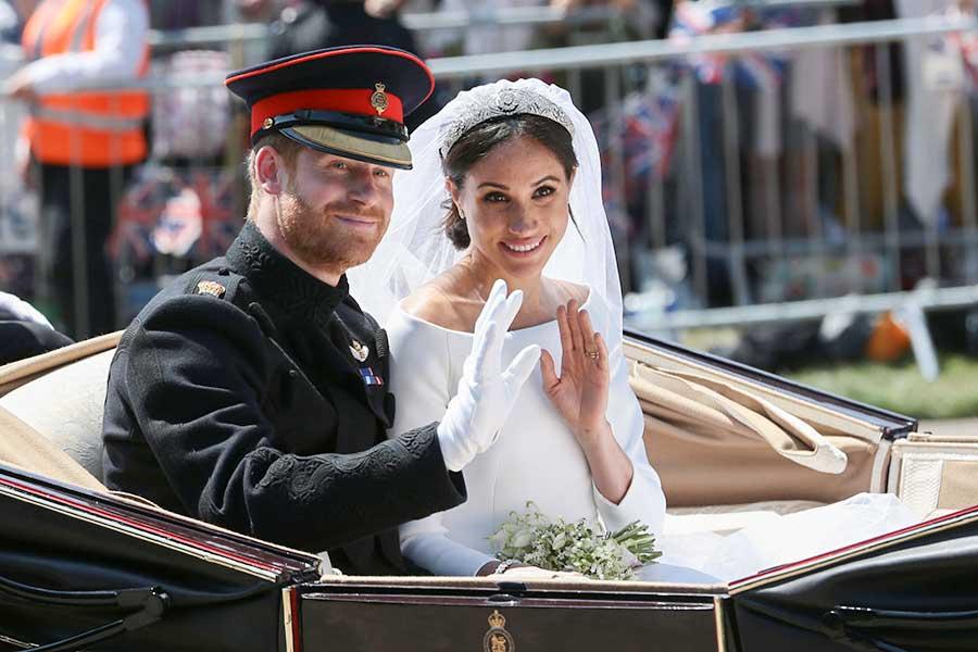ロイヤルウェディング当日のヘンリー王子とメーガン妃【写真:Getty Images】