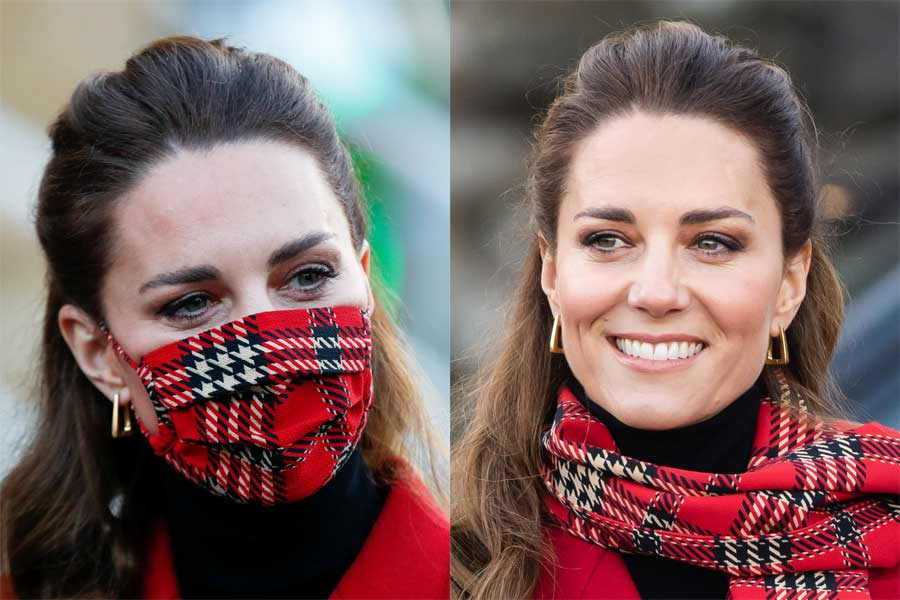 2020年12月に行われたロイヤルツアーでは赤いタータン柄のマスクとマフラーも披露【写真:Getty Images】