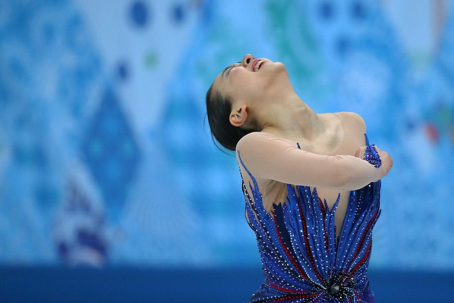 「フィギュアスケート名作写真館」ソチ五輪のフリープログラムで天を仰いだ浅田真央さん【写真:Getty Images】