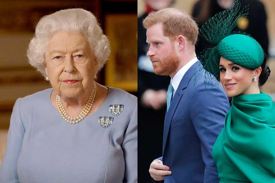 エリザベス女王とヘンリー王子とメーガン妃【写真:AP】