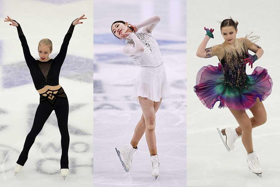 (左から)ブレイディ・テネル選手、イ・ヘイン選手、エカテリーナ・リャボワ選手【写真:Getty Images】