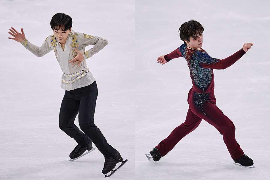 (左から)新作衣装を披露した鍵山優真選手、シックな色合いの宇野昌磨選手【写真:Getty Images】