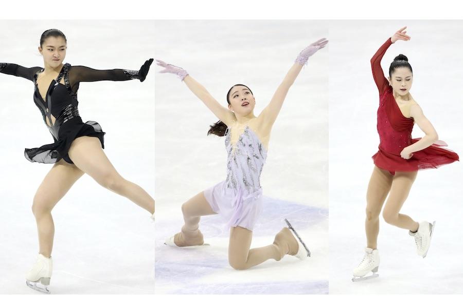 三者三様の印象を残した(左から)坂本花織選手、紀平梨花選手、宮原知子選手【写真:Getty Images】