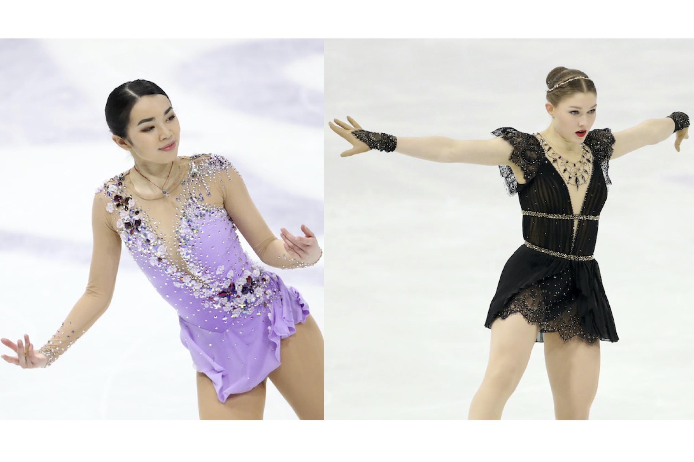 (左から)ゴージャスな装いのカレン・チェン選手、個性を見せたイェニー・サーリネン選手【写真:Getty Images】
