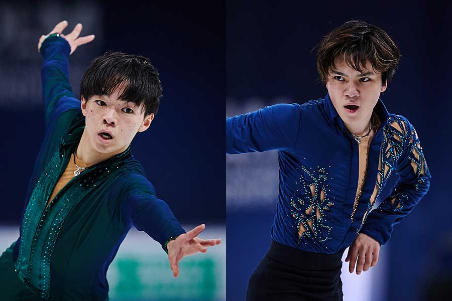 (左から)大人っぽい雰囲気の鍵山優真選手、上品さが際立つ宇野昌磨選手【写真:Getty Images】