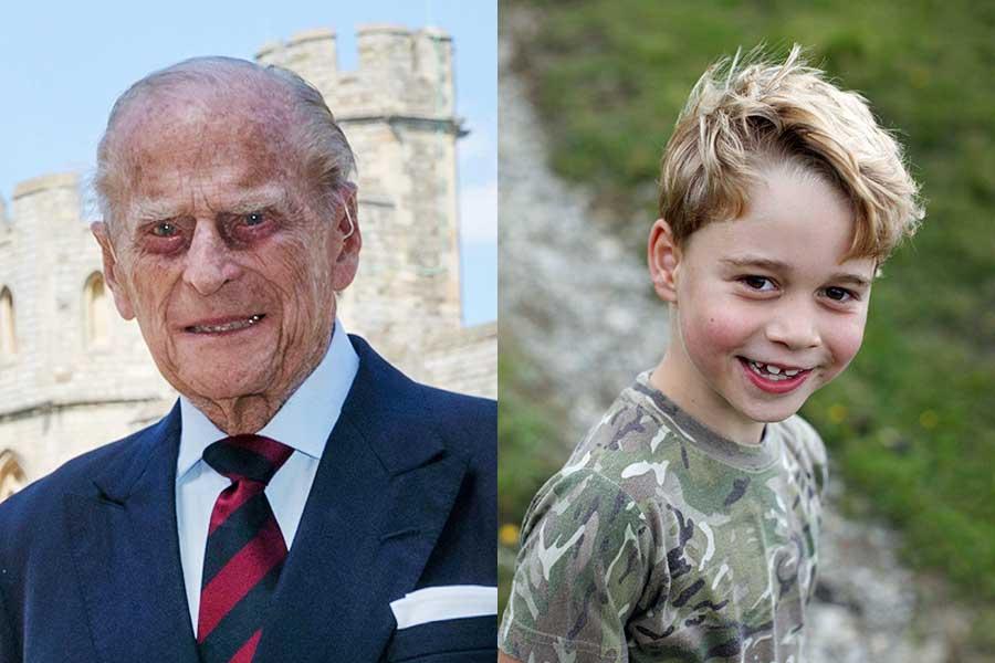 フィリップ殿下とジョージ王子【写真:AP】