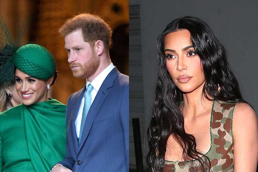 ヘンリー王子夫妻とキム・カーダシアン【写真:Getty Images】