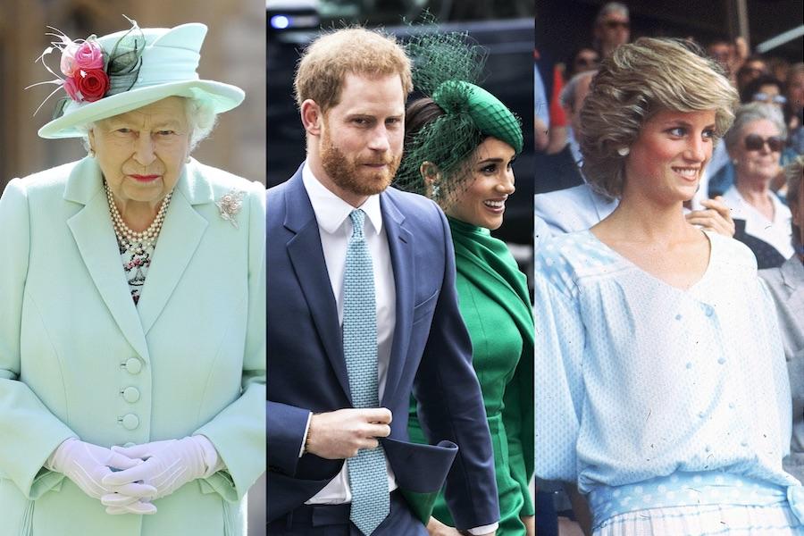 エリザベス女王、ヘンリー王子夫妻、ダイアナ元妃【写真:AP】