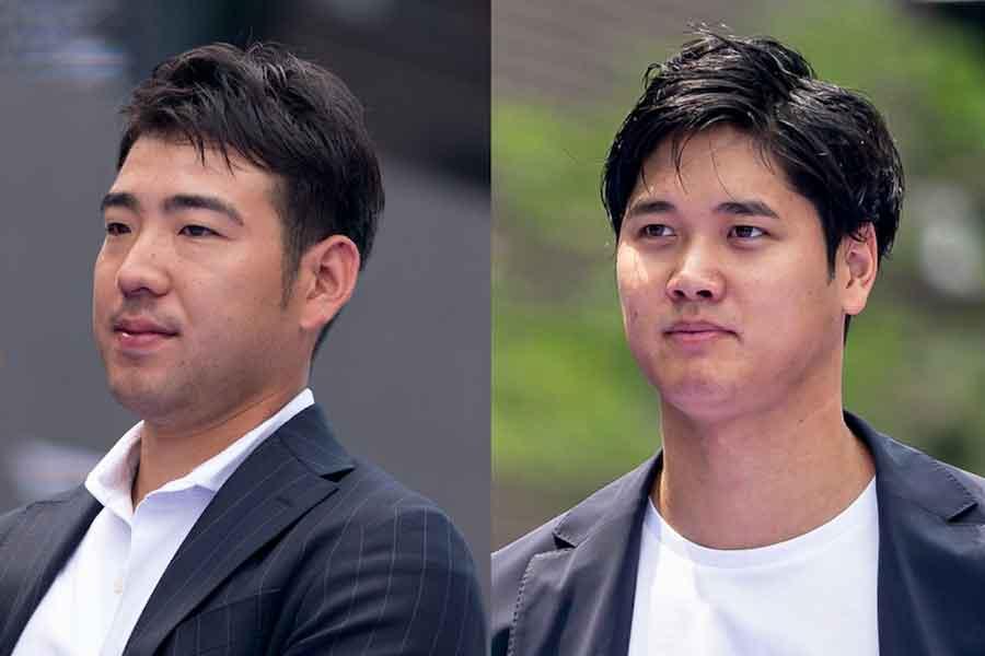 レッドカーペットに登場した菊池投手(左)と大谷選手【写真:Getty Images】