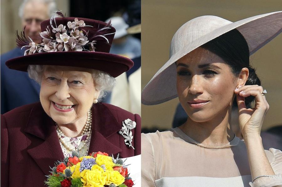 エリザベス女王とメーガン妃【写真:AP】